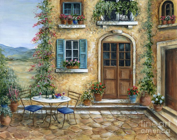 """""""Tuscan Courtyard With Cat"""" by Marilyn Dunlap"""