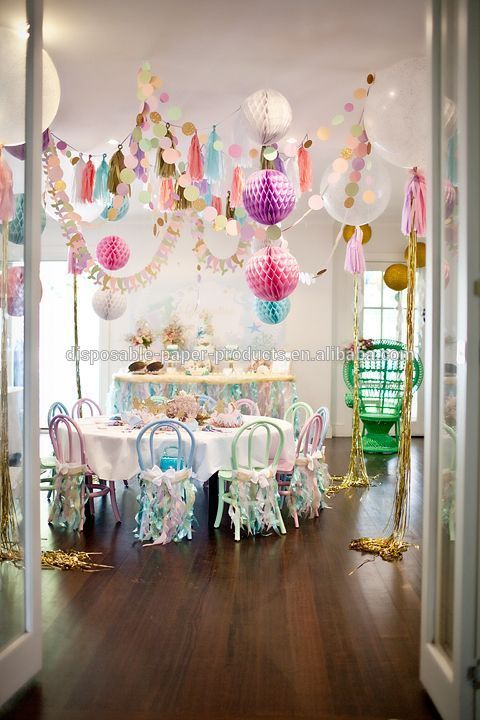 Sparkly Mermaid Party Backdrop Decor Ideas Tissue Paper Pom Poms Balls Paper Fans Crepe Streamer