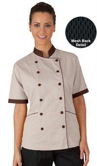 Style # 91715: STONE W/ COFFEE BEAN & BLACK: Chaqueta de Chef con Malla en Media Espalda para Mujer - Botones Forrados en Tela - 65/35 Poliéster/Algodón