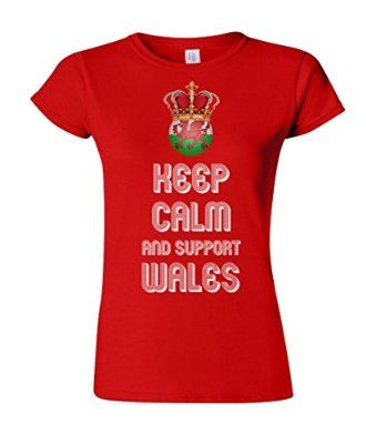 Ladies T-Shirt KEEP CALM & Support WALES Football Euro 2016