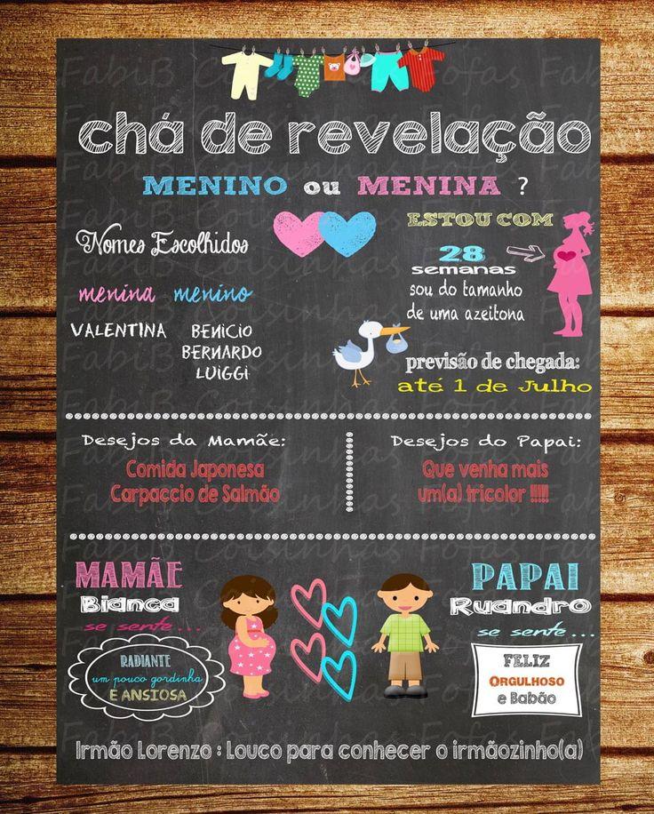 Chalkboard Chá de Revelação | Coisinhas Fofas | Elo7
