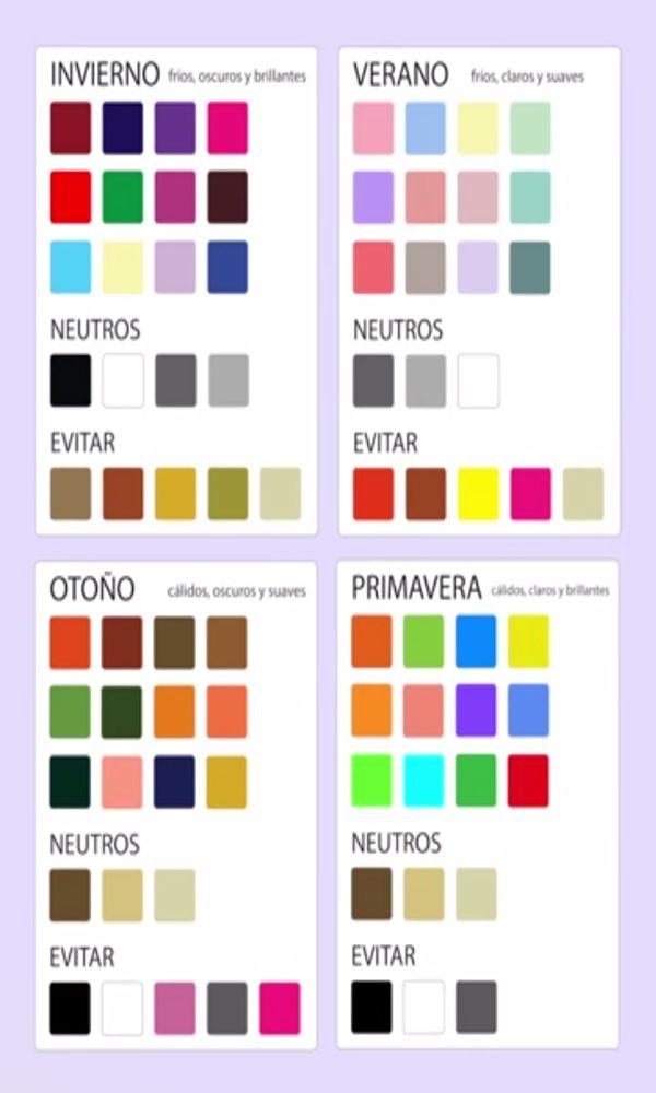 Tabla de colores para seguir en la teoria de las cuatro estaciones
