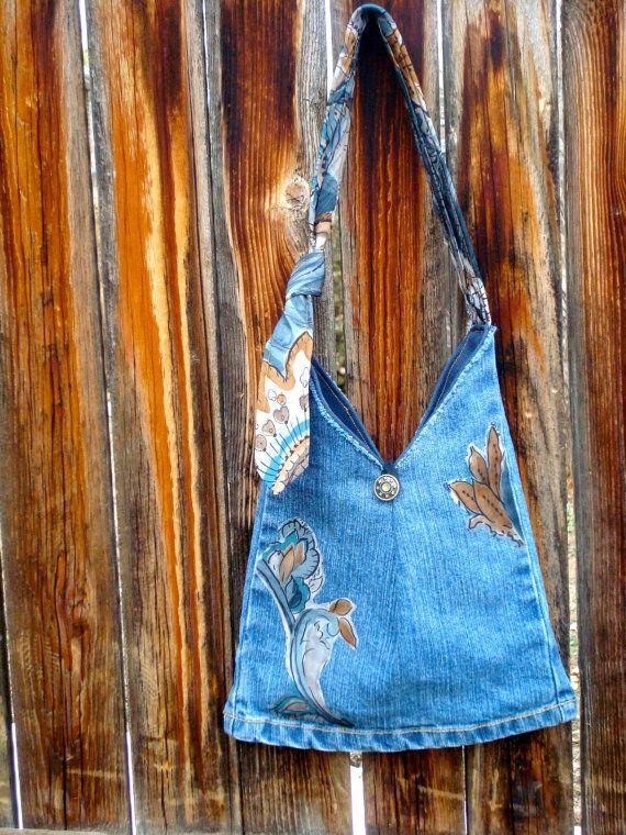 Small denim purse with adjustable necktie handle by RecklessReRuns, $26.00