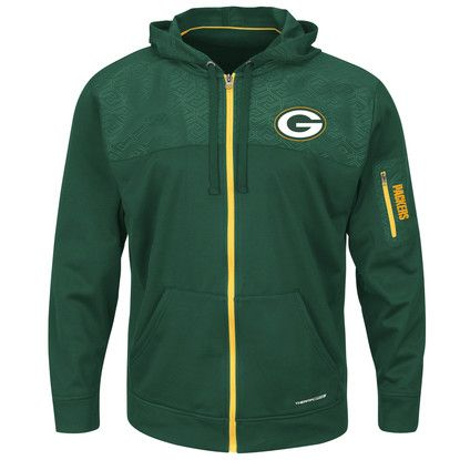 Men's Green Bay Packers Green Ready For Action Therma Baseball Full-Zip Hoodie from VFI