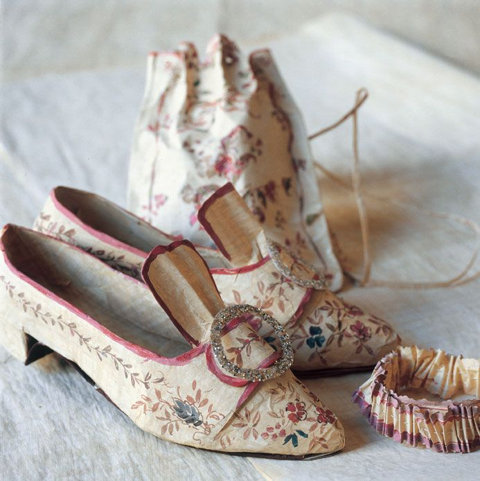 Shoes, bag, garter recreation of 18th Century wardrobe items belonging to Marie-Antoinette by Isabelle de Borchgrave