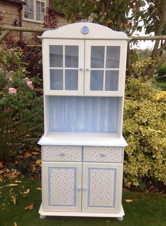 Pretty dress and painted with corn blue and off-white with decoupage to match
