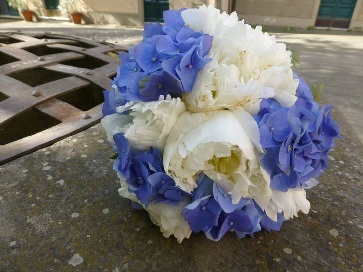 peonia e ortensia blu