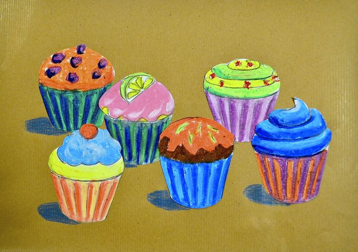 One of the tricks to represent the space is to overlap the shapes in a way such that the position of the objects is perceived as three-dimensional. Although the cupcakes are all the same size, the ...