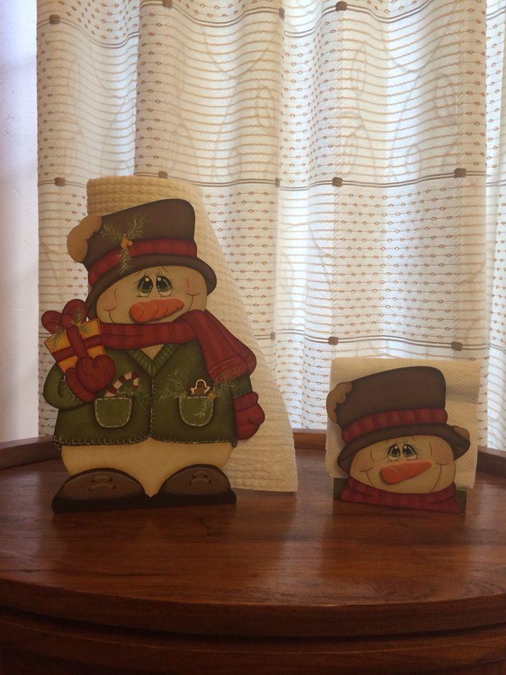 """Servilleteros navideños """"Muñeco de Nieve"""". Servitoallas y servilletas"""
