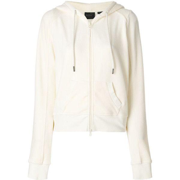 Fenty X Puma zipped sweatshirt (735 BRL) ❤ liked on Polyvore featuring tops, hoodies, sweatshirts, zip sweatshirt, white top, puma top, zip top and puma sweatshirt