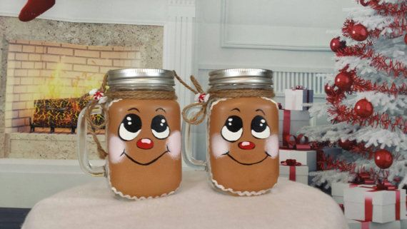 Check out this item in my Etsy shop https://www.etsy.com/listing/257145231/gingerbread-man-mason-jar-with-handle