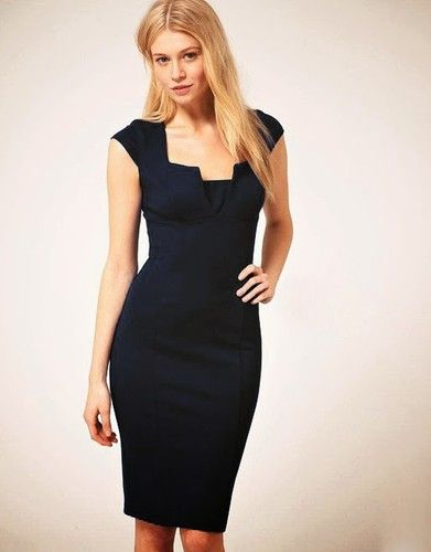 This #pencil #dress is elegant with #bodycon style. It features cap sleeve with square neckline. The split at center chest and back hemline looks sexy and attractive! A concealed zipper at back for safe fastening. It is suitable for this season.