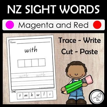 This activity is for words at the Magenta and Red level. A total of 53 activity sheets. Students trace the focus word, have a go at writing it, and then cut the letter tiles and paste them into the empty boxes. There are additional letter