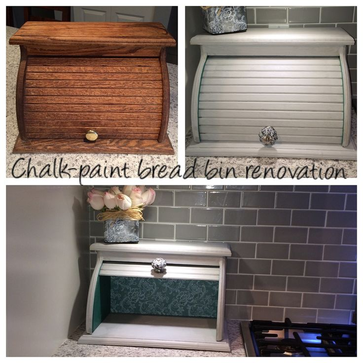 Vintage wooden roll top bread box Chalk-paint makeover