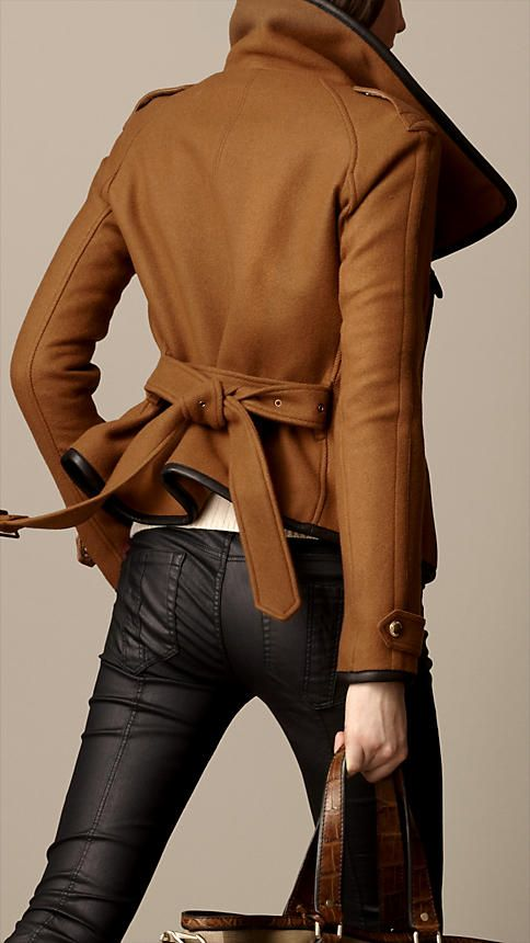 LEATHER TRIM BLANKET WRAP JACKET