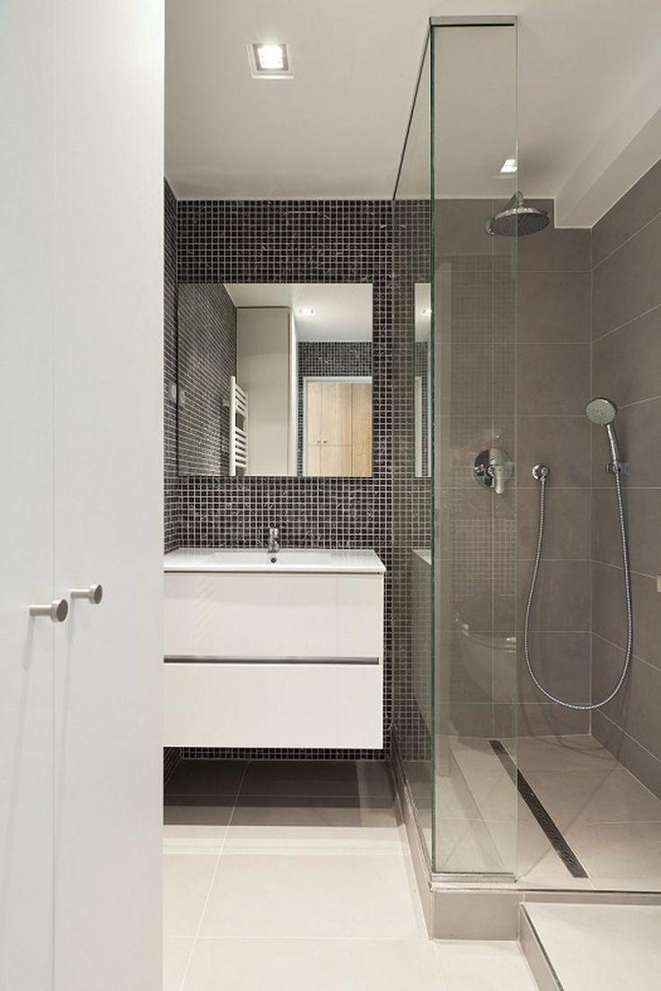 Petite salle de bains avec douche à l'italienne