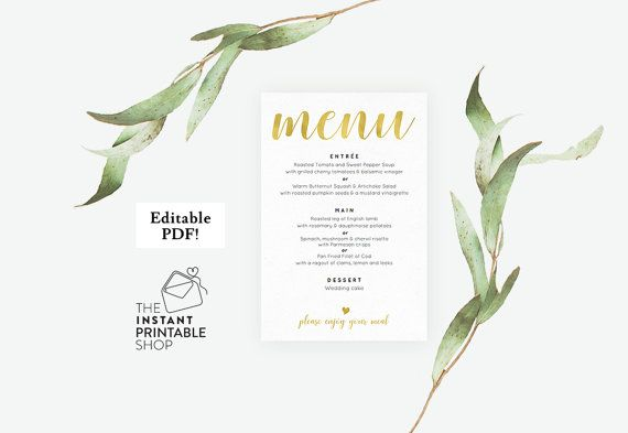 Gold wedding menu template Wedding menu by instantprintableshop