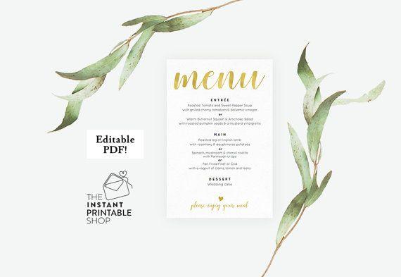 Gold wedding menu template Wedding menu by instantprintableshop