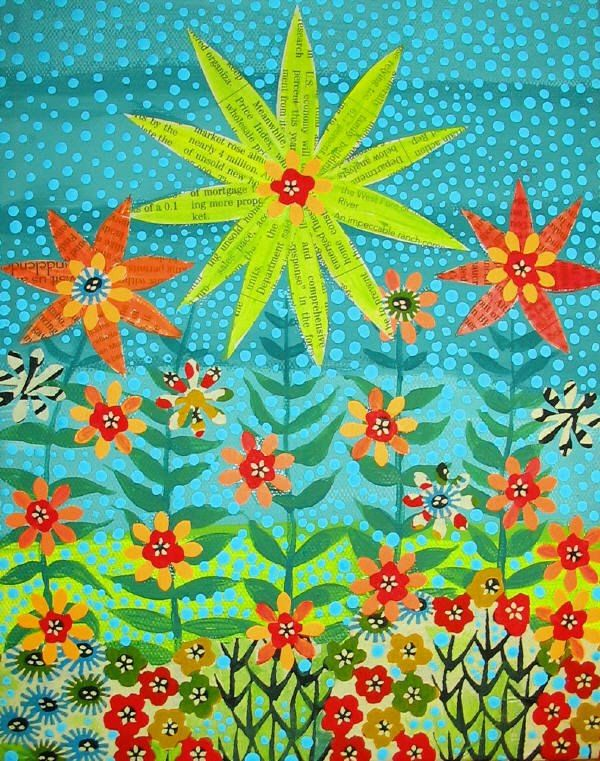 Folk Art style flower painting