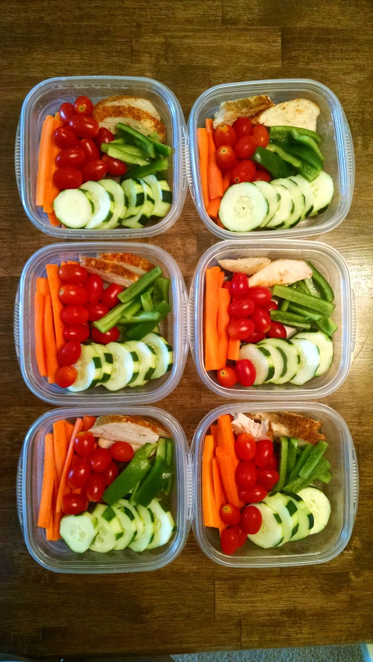 Six days' worth of snack packs for husband: slightly steamed carrots, green peppers, cucumbers, baked chicken, and cherry tomatoes (E)  (the quantity of carrots and tomatoes keeps it from being a FP)
