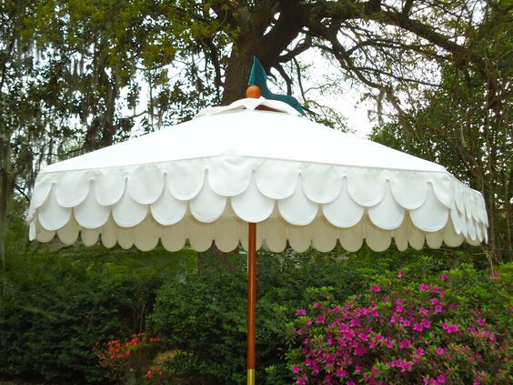 boutique tents diameter wood frame umbrella with sunbrella cover and double scallop valance girly girl umbrella luv it