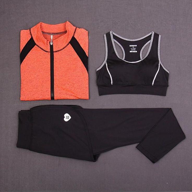 New Sport Suit Women Yoga Set Gym Workout Sportwear Women's 3 Pieces Jacket Crop Top Long Pants Yoga Sports Tracksuit