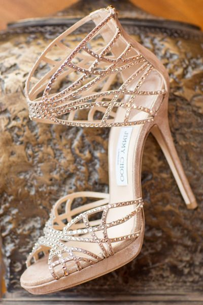 Bedazzled Jimmy Choo sandals: http://www.stylemepretty.com/little-black-book-blog/2014/08/12/classic-lake-tahoe-wedding/ | Photography: Jonathan Young - http://jyweddings.com/