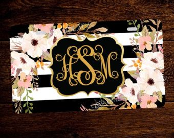 Personalized License Plate Monogram Car Tag by PixelRomance4ever