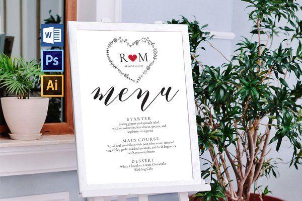 Wedding Menu Board Wpc247 by WeddingPrintablesCo on @creativemarket