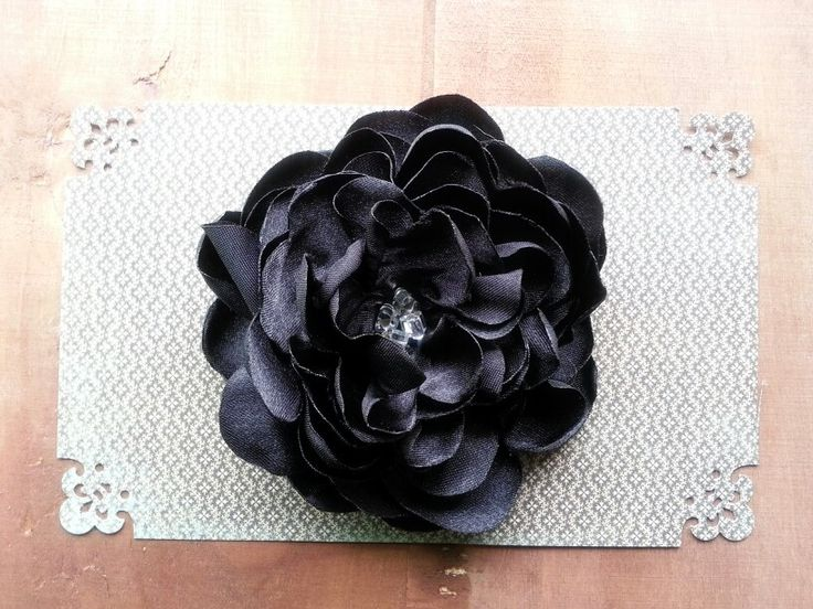 Black Satin Flower Hair Clip with Silver Lined Clear Beads♡