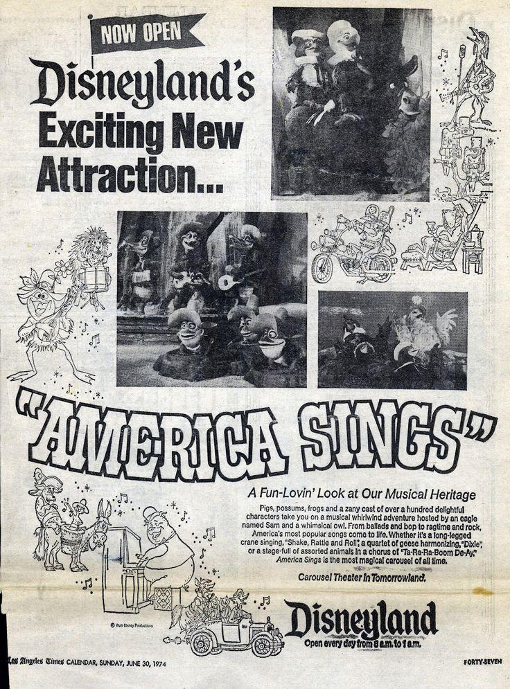 "Vintage Disneyland Tickets: Disneyland's Exciting New Attraction - ""America Sings"" - June 30, 1974"