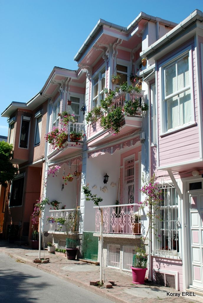 Turkish Traditional Houses - İkiz Evler (Twin Houses) in Heybeliada (Princess Islands) of Istanbul.