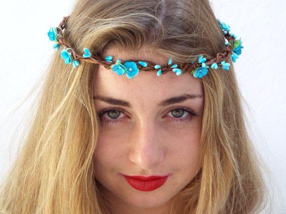 Blu corona di fiori, matrimonio copricapo, fascia floreale, corona di capelli…