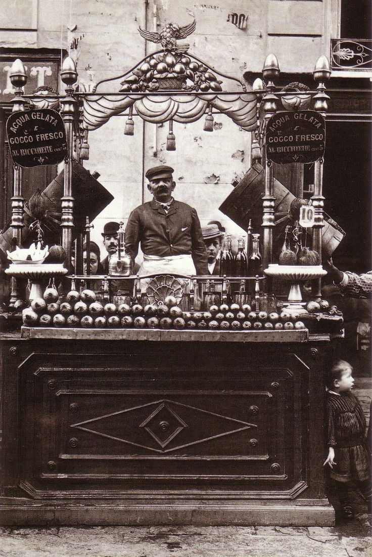 Vendor selling cold water and fresh coconut  Fratelli Alinari - Napoli 1880