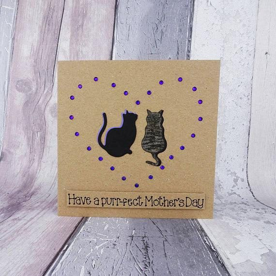 Custom handmade Mothers Day card featuring two cats inside gems in the shape of a heart. You can choose the silhouette of any two cats in my collection (listed in my Etsy store), the colour of the cat and the gems. Please add all these details in the Note to Seller section at checkout.