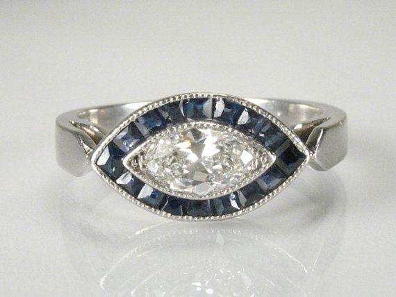 Vintage Platinum Diamond Engagement Ring with by lonestarestates, $1325.00
