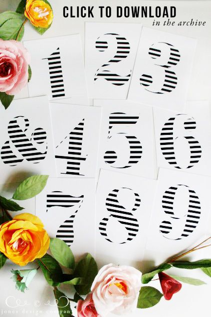 free striped numbers and ampersand art / jones design company