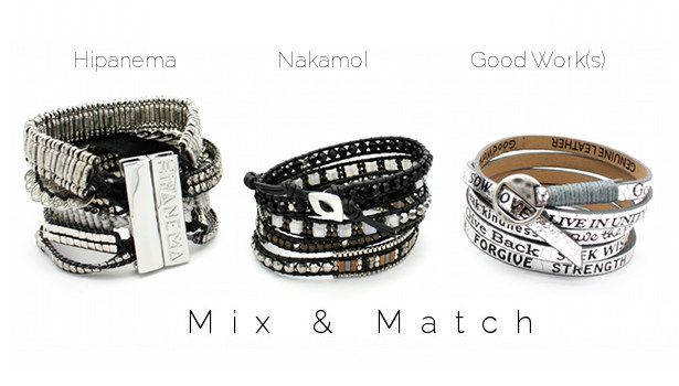 Mix & Match www.lilishopping avec la manchette Silver Hipanema, un bracelet wrap Nakamol et un bracelet metal silver Good Work(s)