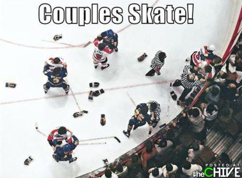 Hockey players giving couples' skating a try.
