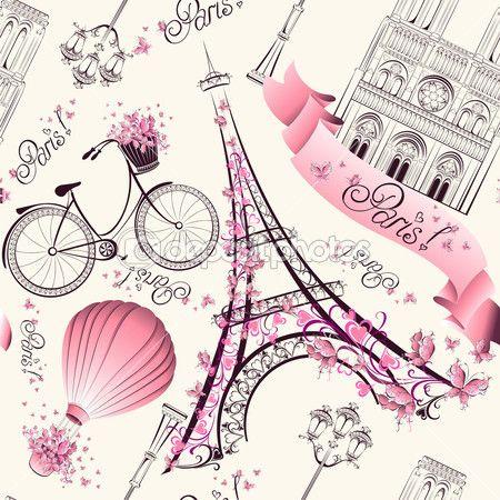 París símbolos de patrones sin fisuras. viajes románticos en París. Vector — Vector de stock