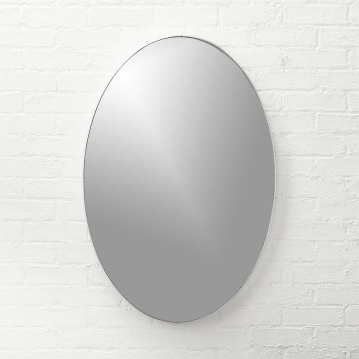 """Shop Infinity Silver Oval Wall Mirror 24""""x36"""".   Looking glass framed thin, trim and exact in pure extruded aluminum with brushed silver finish.  Handmade frame resists corrosion so it's perfect in the bath."""