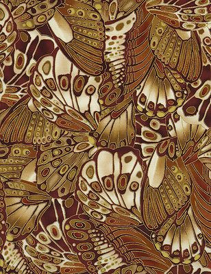 Fabric - Bronze Shimmer By Timeless Treasures, Butterfly Wings Rust