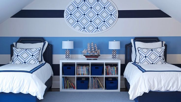 Morgan Harrison Home - boy's rooms - Ikea Expedit Shelving Unit, shared kids room, shared boys room, shared boys bedroom, striped walls, str...