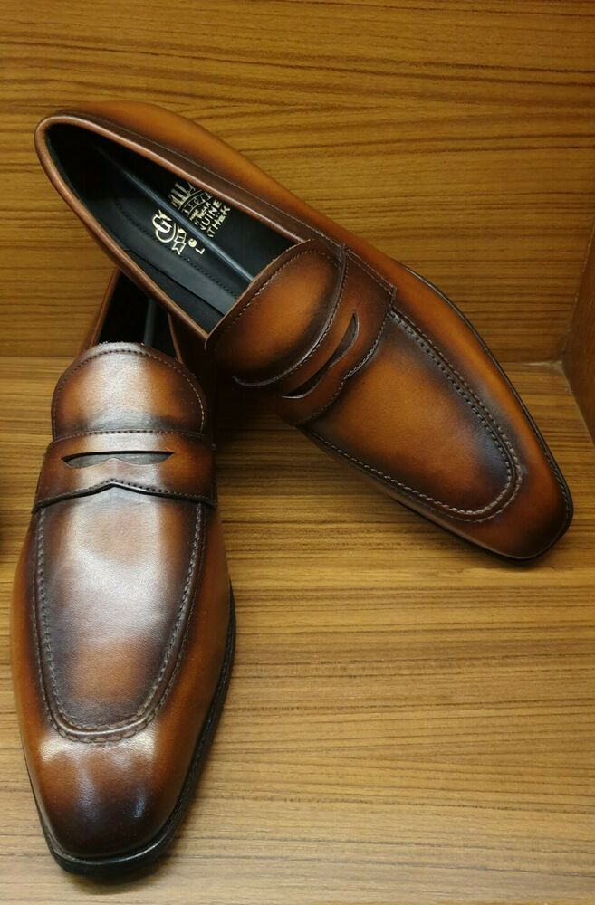 Mens Slip On penny Loafer Handmade Two Tone Brown Calf ...