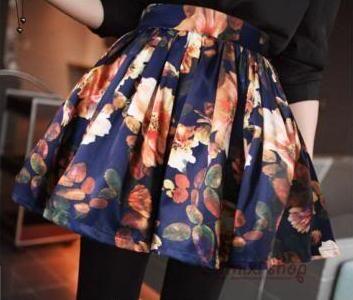 Vintage Style Large Hem Floral Print Skirt For Women