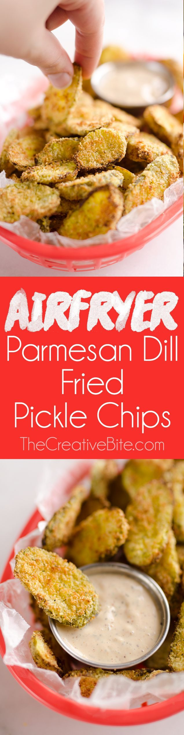 Airfryer Parmesan Dill Fried Pickle Chips are a quick and easy 5 ingredient appetizer made extra crunchy in your Airfryer without all the fat from oil. This low-fat snack is sure to satisfy your craving for something salty! #Airfryer #Pickle #Snack (Low Carb Easy Baking)