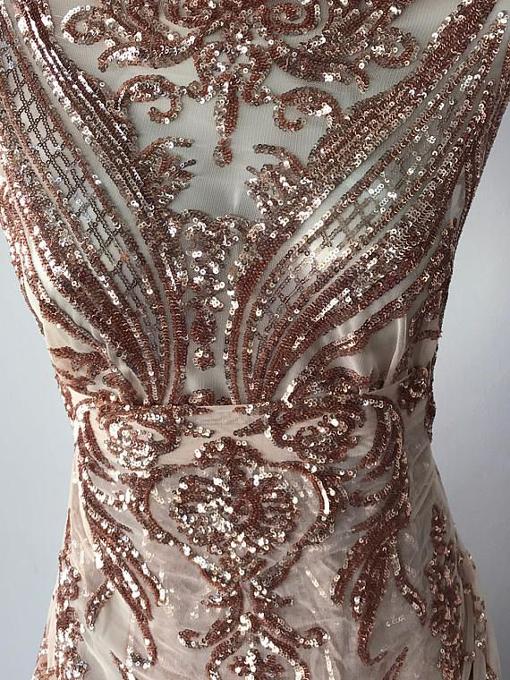 rose gold lace in Baroque design rose gold metallic sequins
