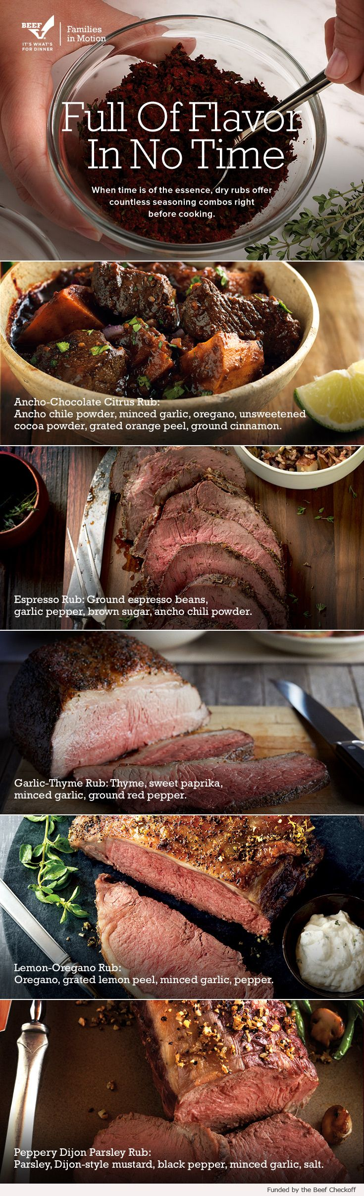 The beauty of beef is its flavorful versatility. Rub any of these seasoning combos on before cooking and you're good to go. Find recipes and more on BeefItsWhatsForDinner.com.