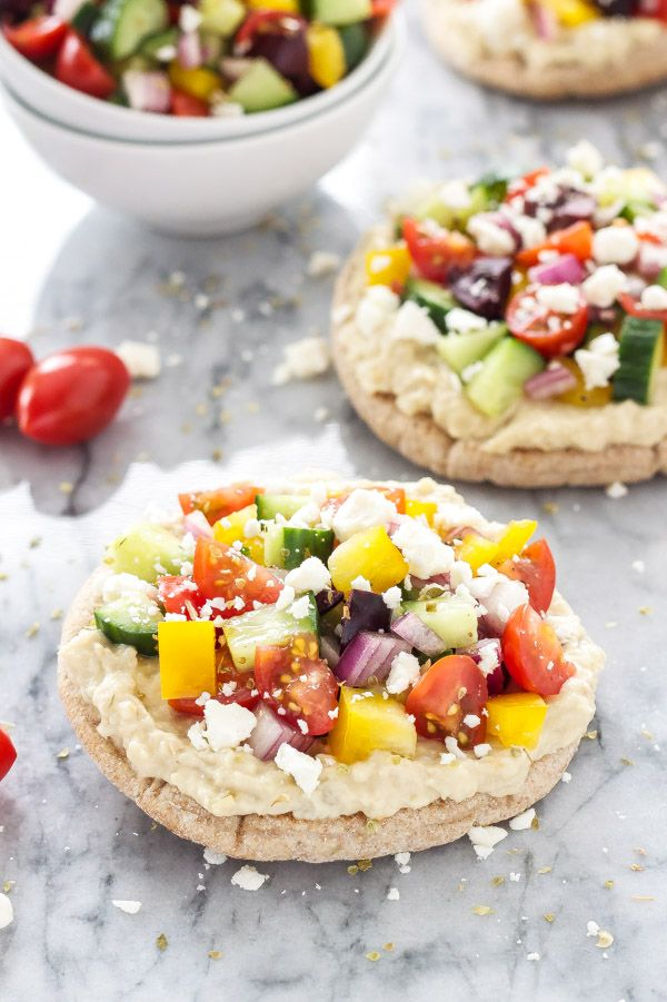 Greek Pita Pizzas | Super healthy, vegetarian pizza with all your favorite Greek flavors!