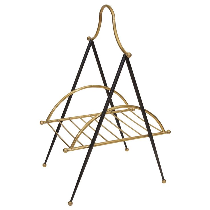 Italian Metal and Brass Magazine Rack | From a unique collection of antique and modern magazine racks and stands at https://www.1stdibs.com/furniture/more-furniture-collectibles/magazine-racks-stands/